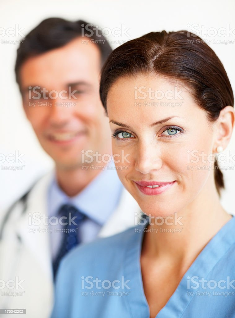 Portrait of smiling confident doctors royalty-free stock photo