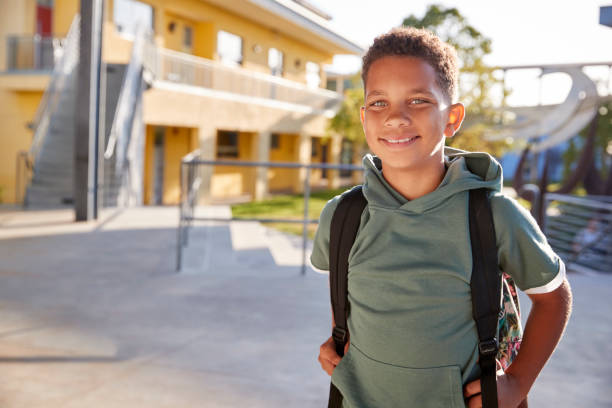Portrait of smiling elementary school boy with his backpack Portrait of smiling elementary school boy with his backpack 12 13 years stock pictures, royalty-free photos & images
