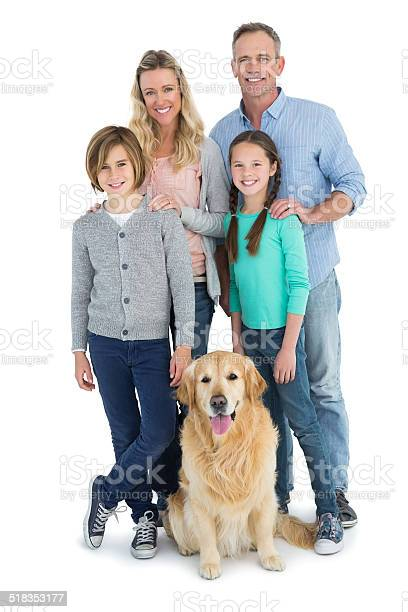 Portrait of smiling family standing together with their dog picture id518353177?b=1&k=6&m=518353177&s=612x612&h=fk7uzgcmptpg98f2cpknsagfjrkfpsr9v0ppnngdud0=