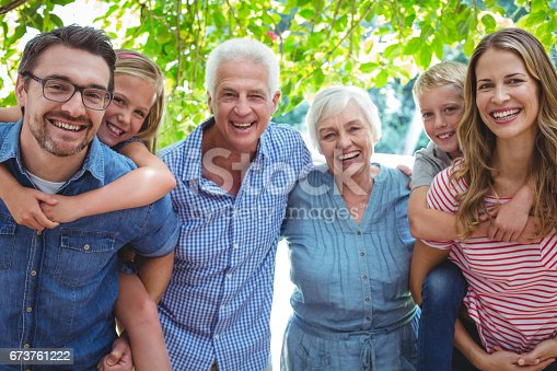 istock Portrait of smiling family with grandparents 673761222