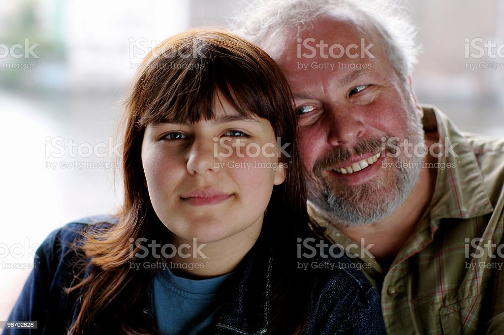Portrait of Smiling Father and Daughter royalty-free stock photo
