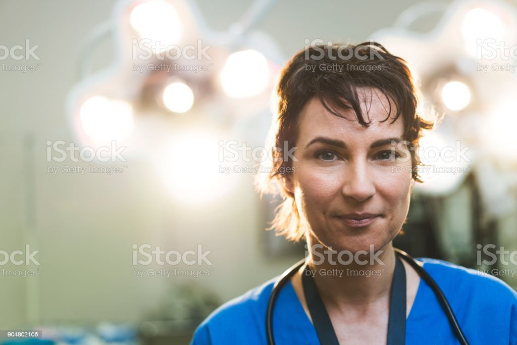 Portrait of smiling female doctor in hospital stock photo