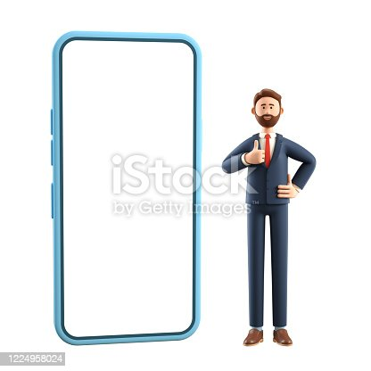 Portrait of smiling happy businessman with big phone showing gesture cool. 3D illustration of cartoon standing man in suit with thumb up, isolated on white background.