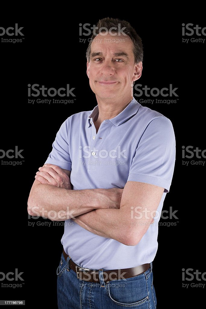 Portrait of Smiling Happy Man Arms Folded royalty-free stock photo