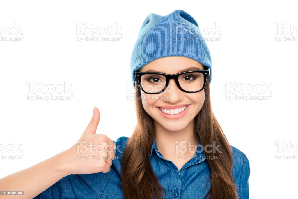 Portrait of smiling hipster woman in glasses showing thumb up royalty-free  stock photo dd7c33168e4