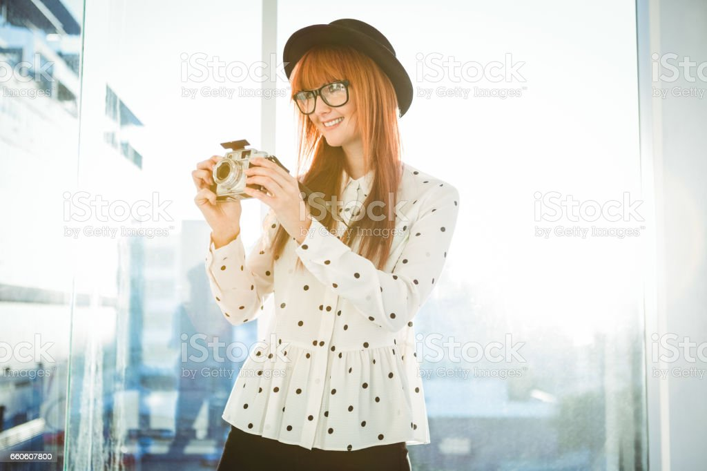 Portrait of smiling hipster woman royalty-free stock photo