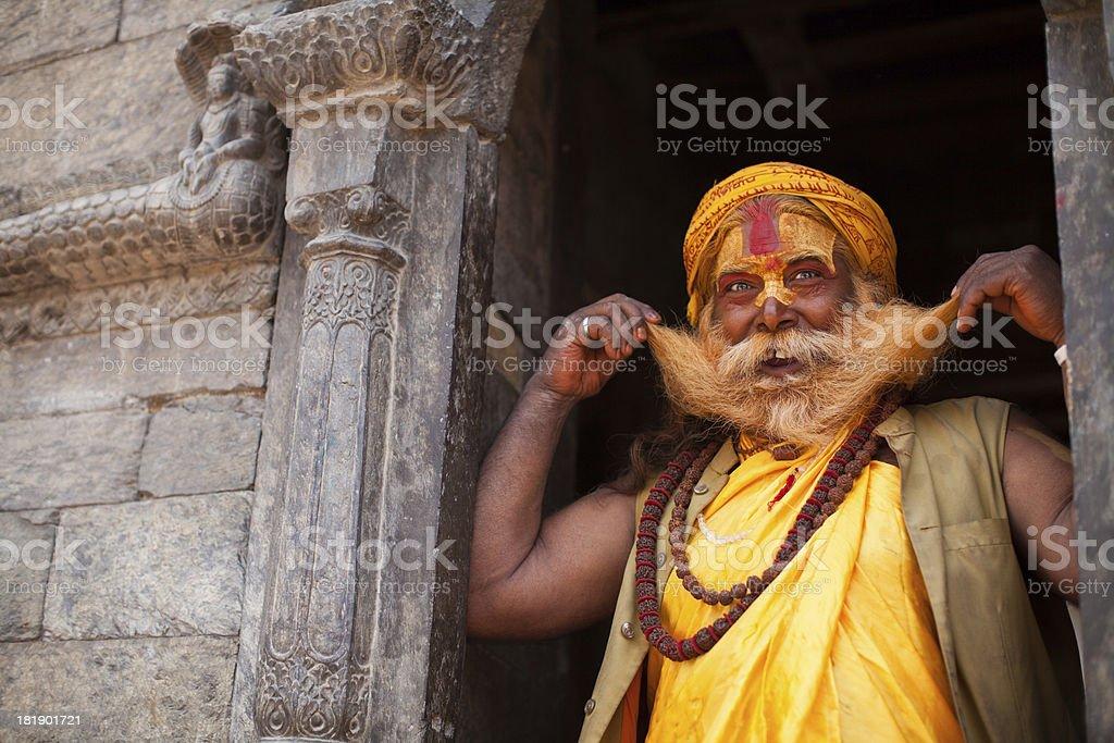 Portrait of smiling Holy Sadhu man stock photo