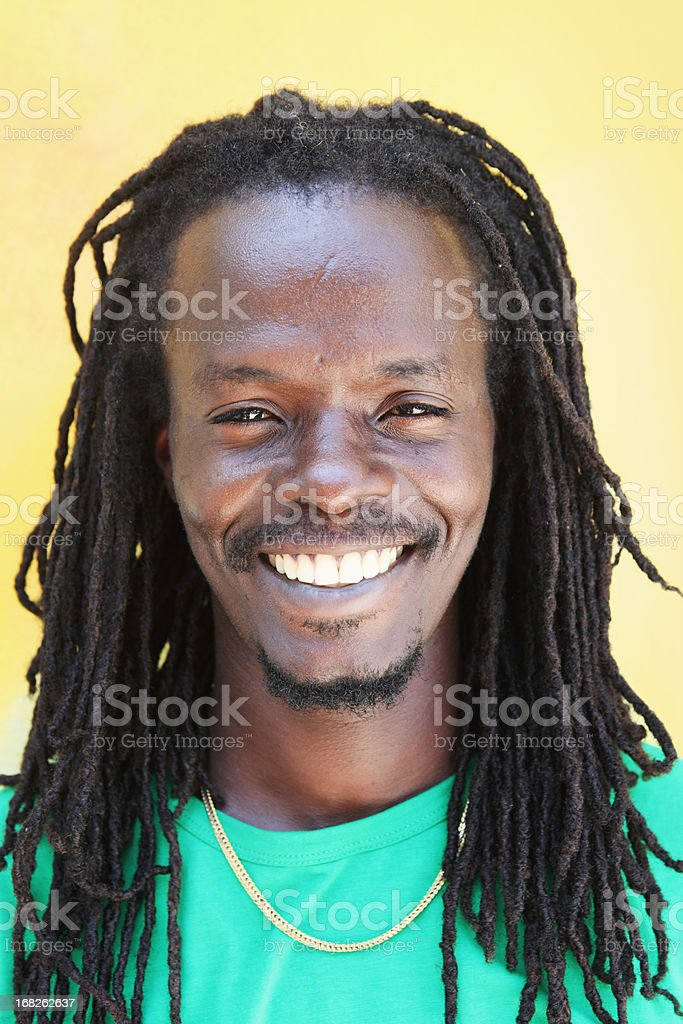 Portrait of Smiling Jamaican Man stock photo