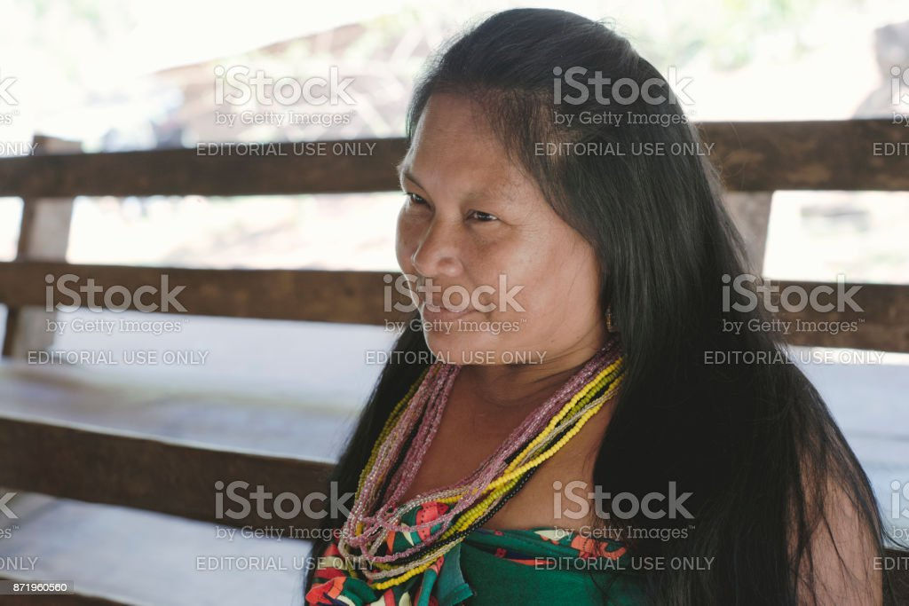 Portrait of smiling Katío Indian woman from the Embera Drua Village stock photo