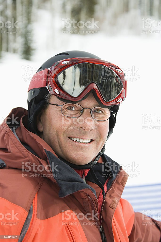 Portrait of Smiling Male Skier royalty-free stock photo