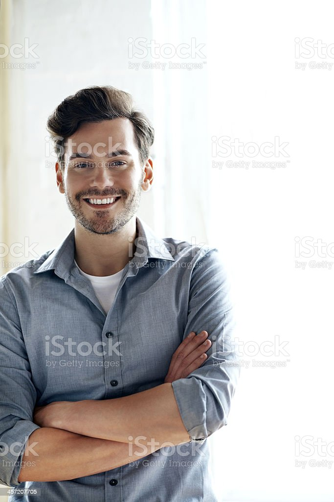 Portrait of smiling man stock photo