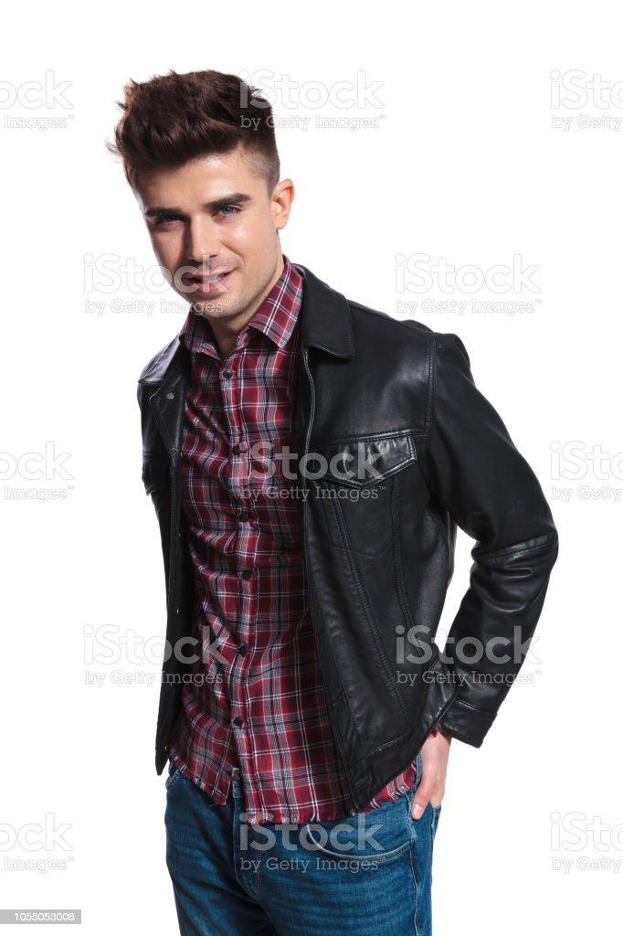 Camisa Hombre Sonriente A Y Retrato Chaqueta Vestido Con De Cuadros fvbY6g7y