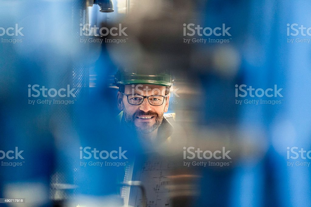 Portrait of smiling manufacturing expert at factory stock photo