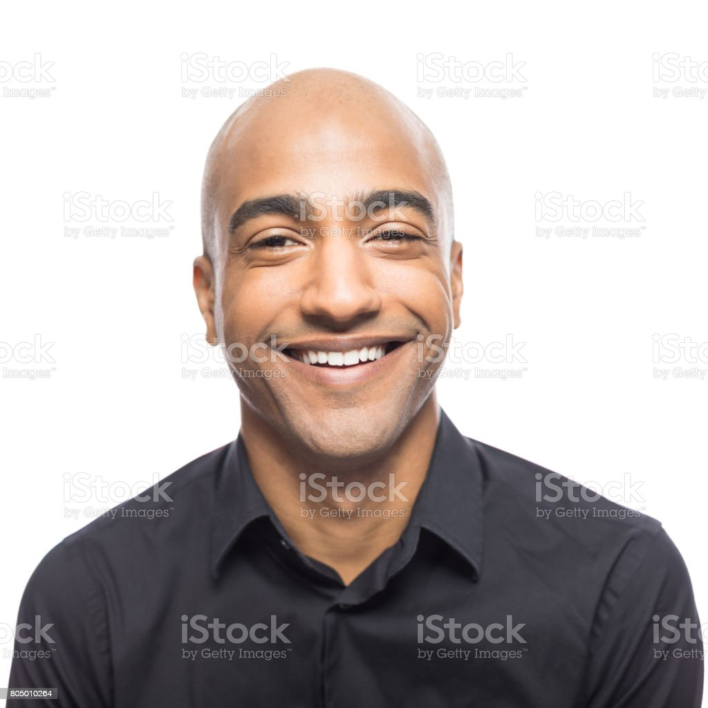 Portrait of smiling mature hispanic man stock photo