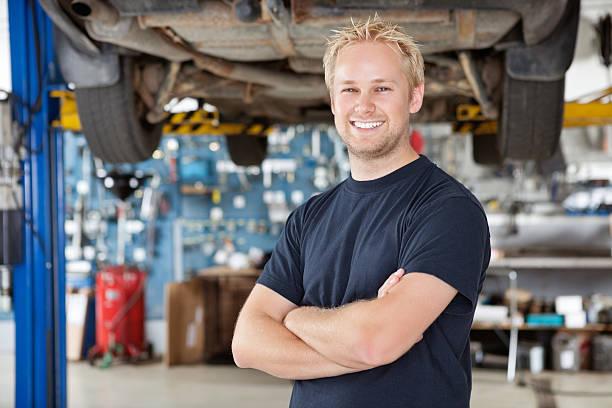 Portrait of Smiling Mechanic stock photo