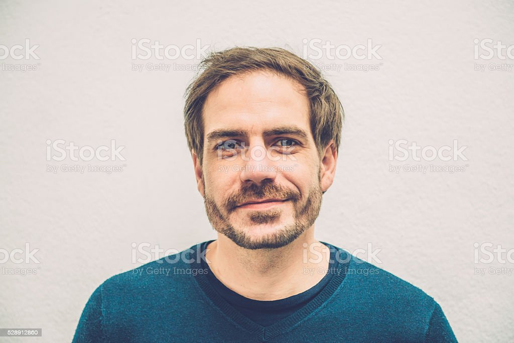 Portrait of Smiling Mid Adult Man with Beard, Paris, Europe stock photo