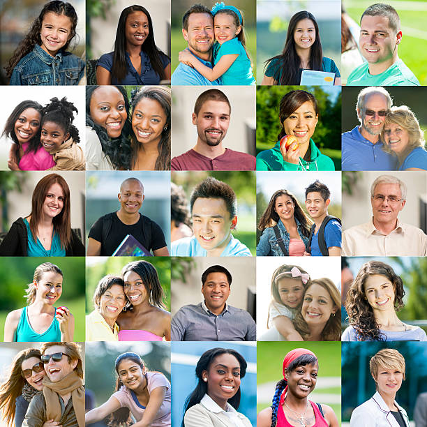 portrait of smiling people - people collage stock photos and pictures
