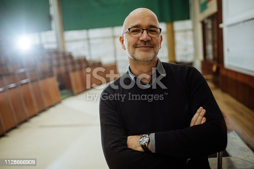 Portrait of smiling professor in the amphitheater