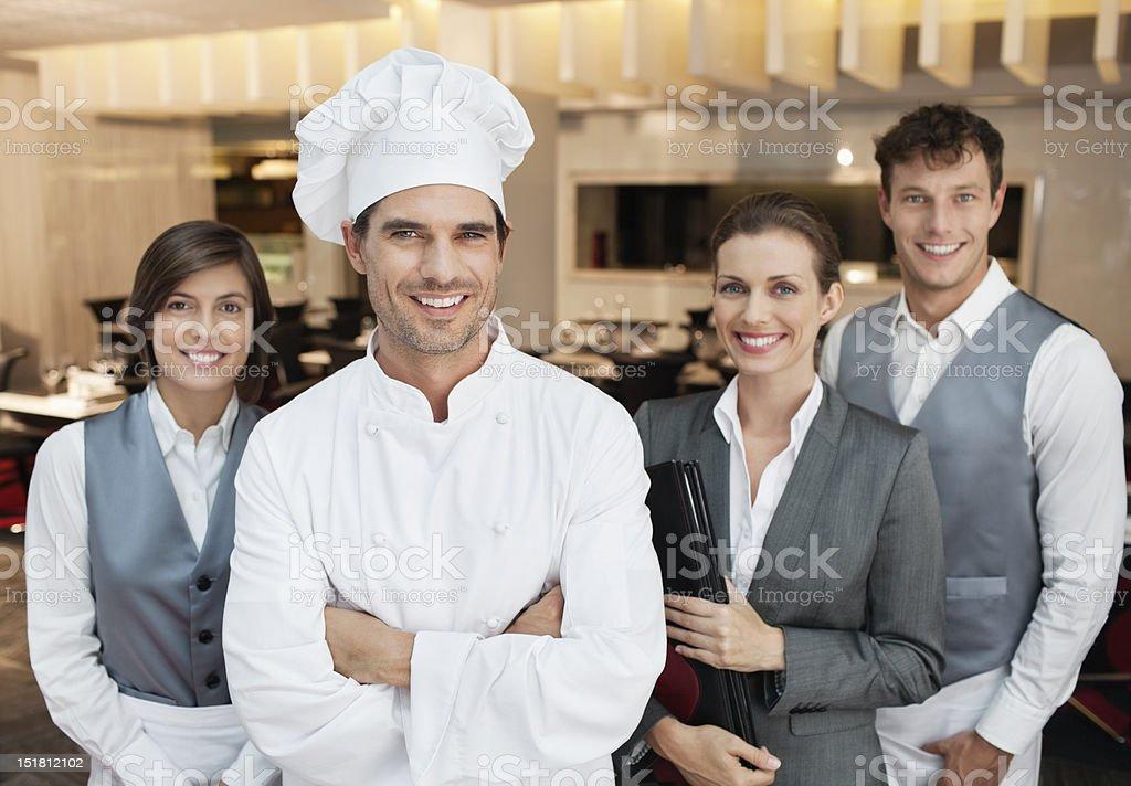 Portrait of smiling restaurant employees stock photo