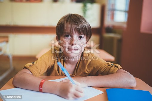 Schoolboy in the classroom writing in the notebook