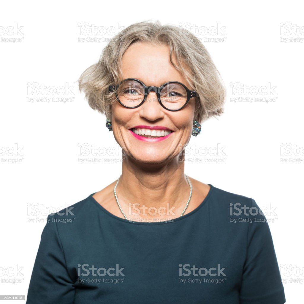 Portrait of smiling senior woman with eyeglasses royalty-free stock photo