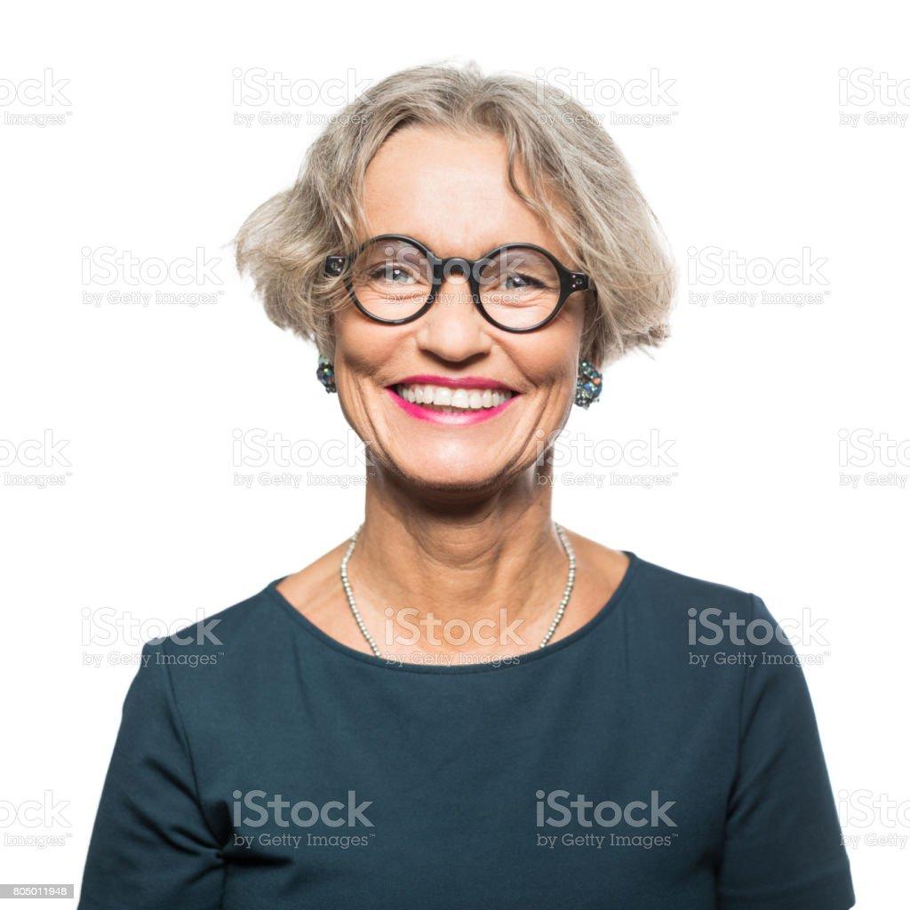 Portrait of smiling senior woman with eyeglasses - foto stock