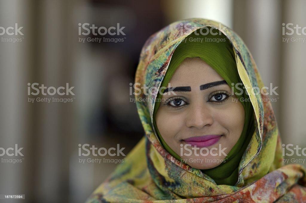 Portrait of smiling Sudanese woman horizontal royalty-free stock photo