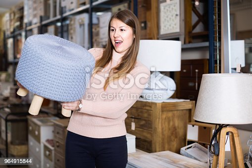 Portrait Of Smiling Woman Buyer Choosing Pouf In Furniture Shop Stock Photo & More Pictures of Adult