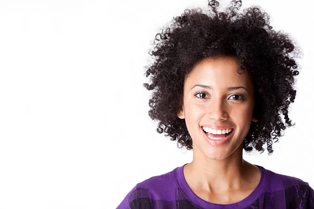 portrait of smiling woman - copy space stock photo