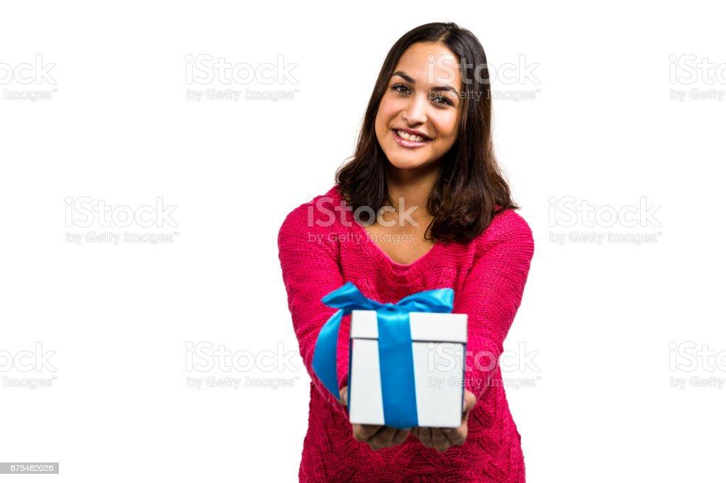 Portrait de sourire cadeau portefeuille femme photo libre de droits