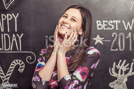 istock Portrait of smiling woman on white background scribbled 593318242