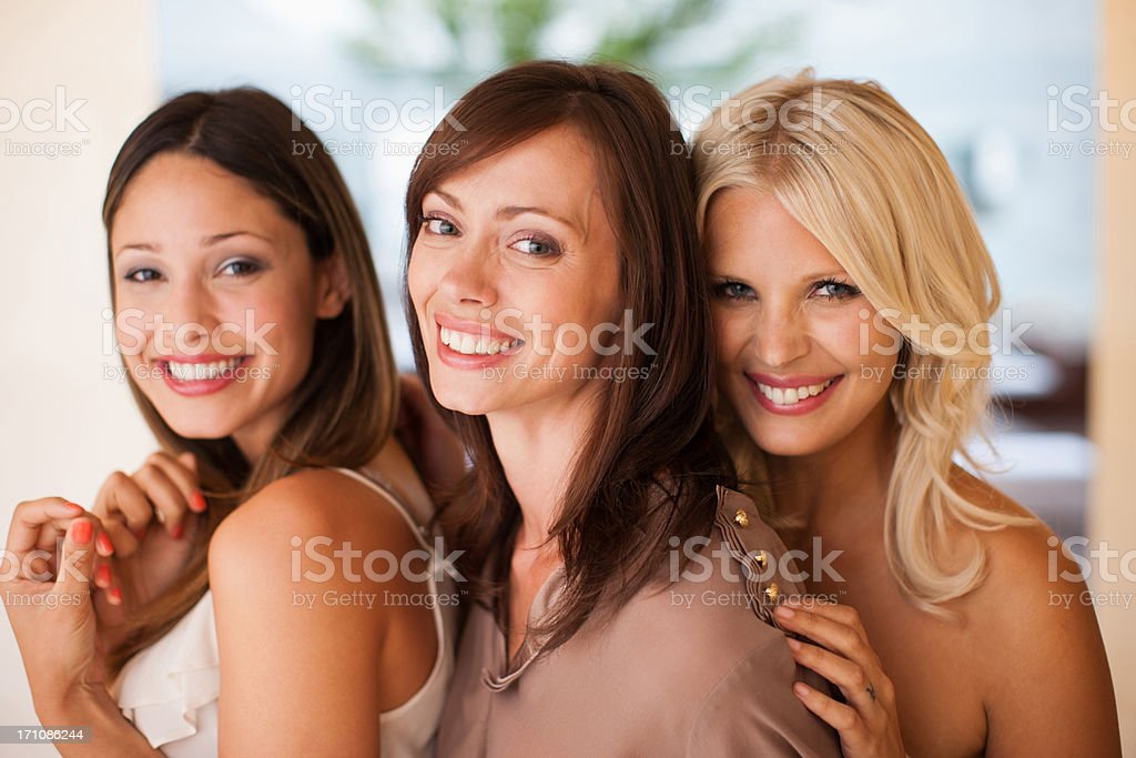 Portrait of smiling woman stock photo