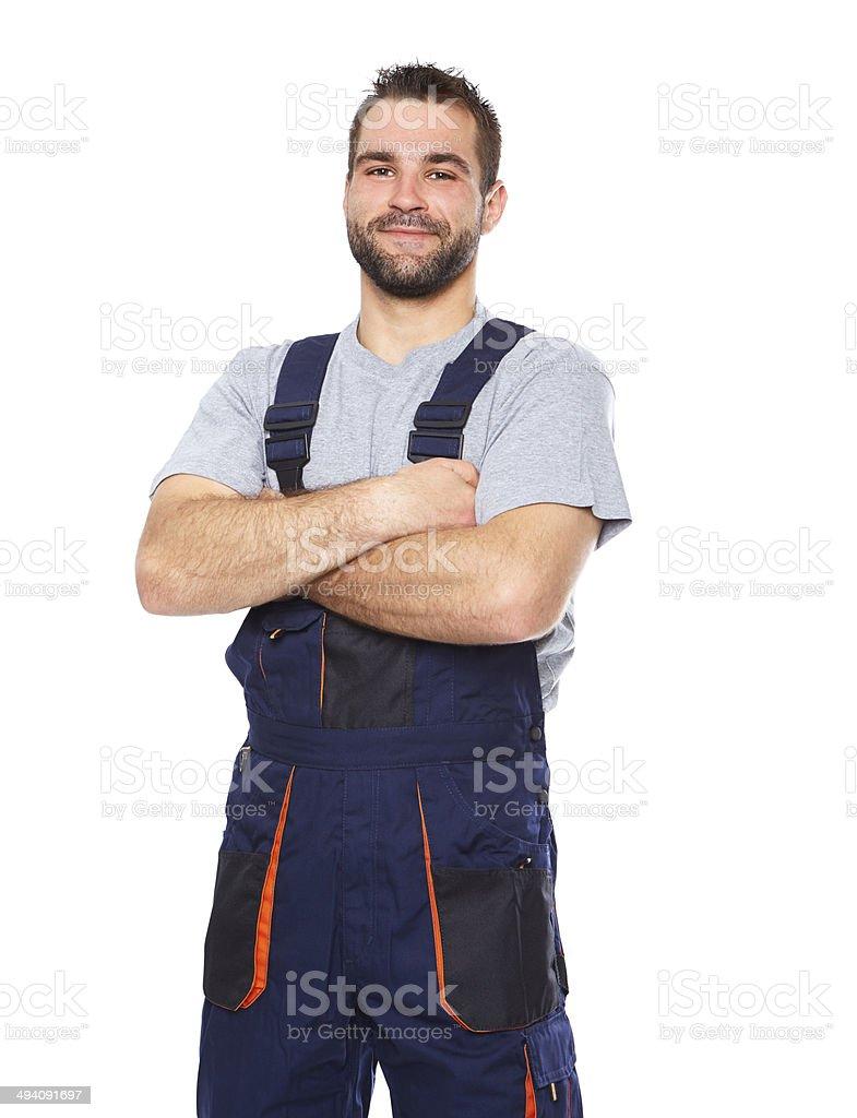 Portrait de souriant Travailleur en uniforme bleu - Photo
