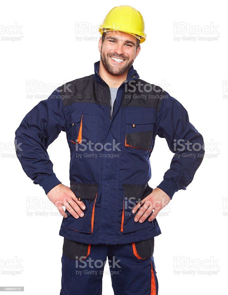 Portrait of smiling worker in blue uniform stock photo