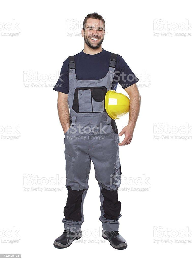 Porträt von lächelnd Arbeiter in uniform gray – Foto