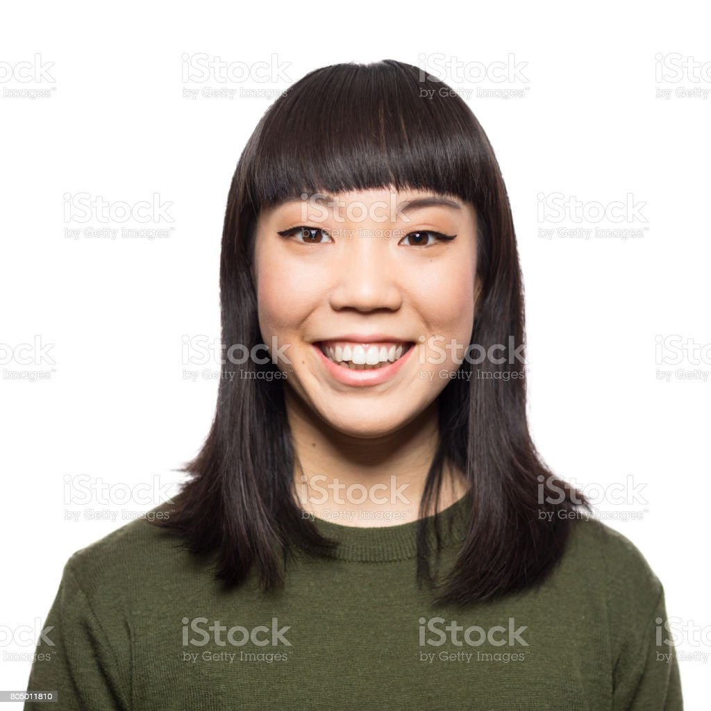 Portrait of smiling young asian woman royalty-free stock photo