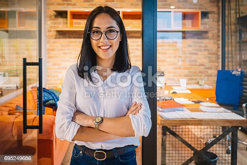 istock Portrait of smiling young businesswoman in office 695249686