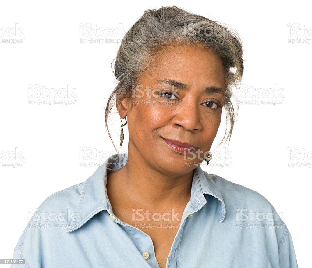 Portrait of smirking middle-aged woman stock photo