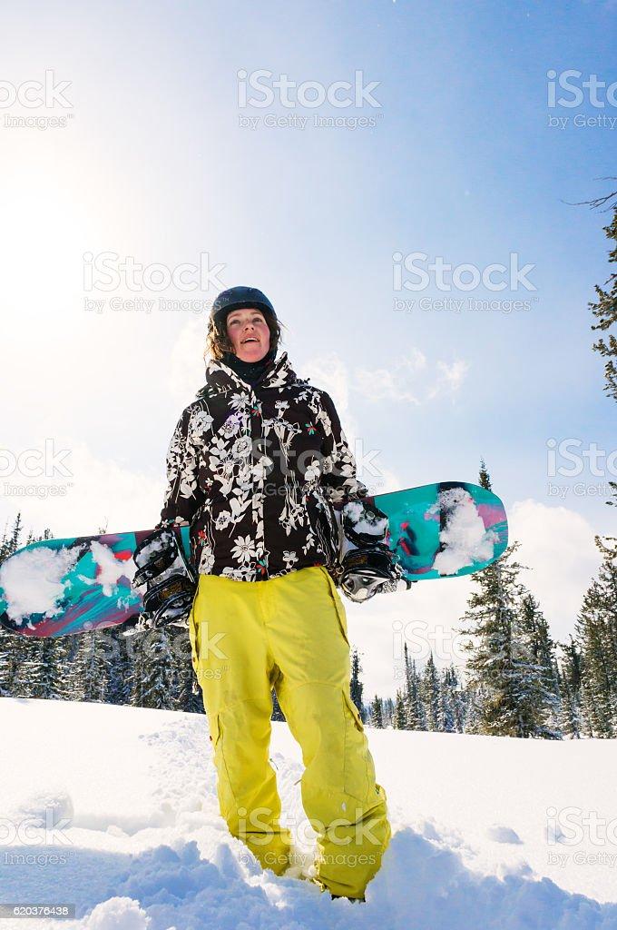portrait of snowboarder girl zbiór zdjęć royalty-free