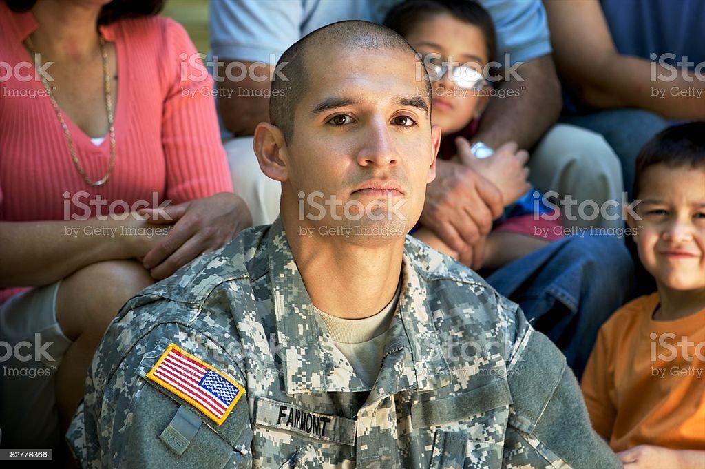 Portrait of Soldier in Uniform  zbiór zdjęć royalty-free