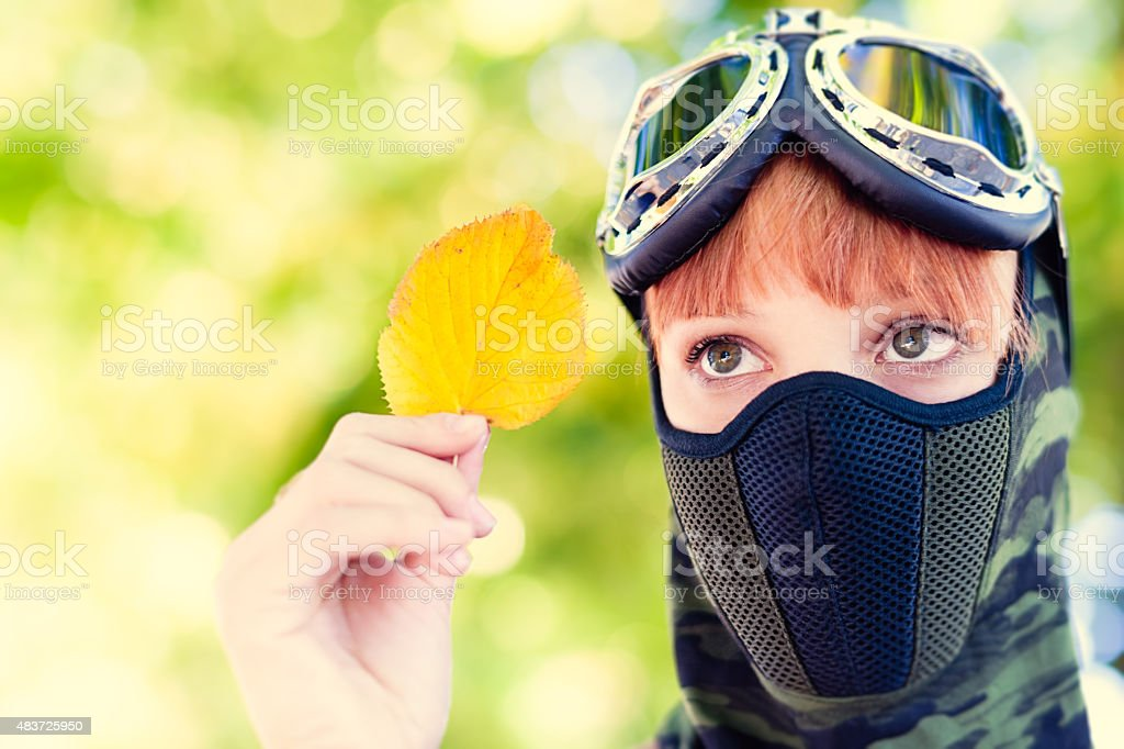 Portrait of soldier woman, outdoors stock photo