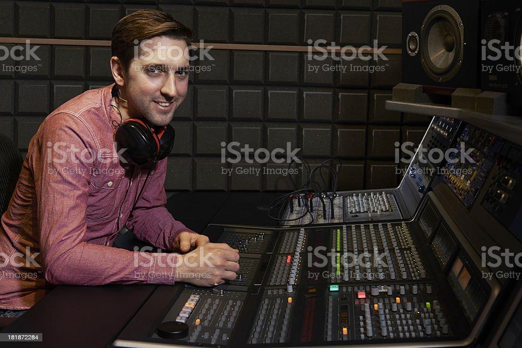 Portrait Of Sound Engineer In Recording Studio stock photo