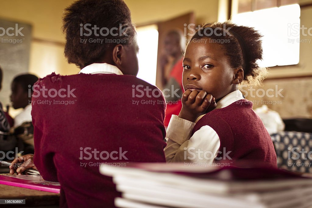 Portrait of South African girls in a rural Transkei classroom stock photo