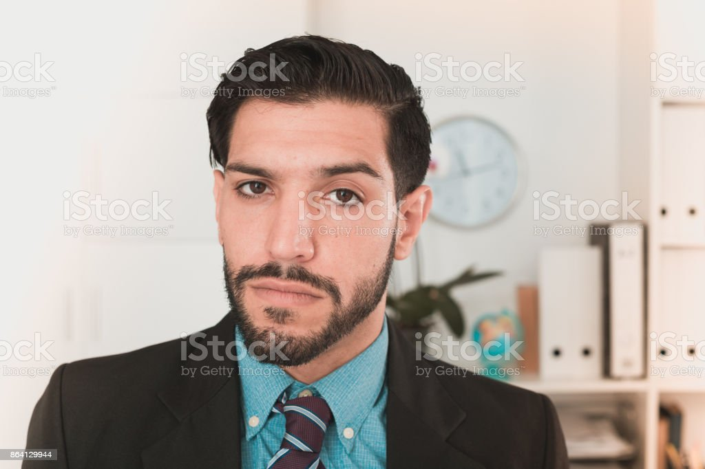Portrait of spanish man who is indignant royalty-free stock photo