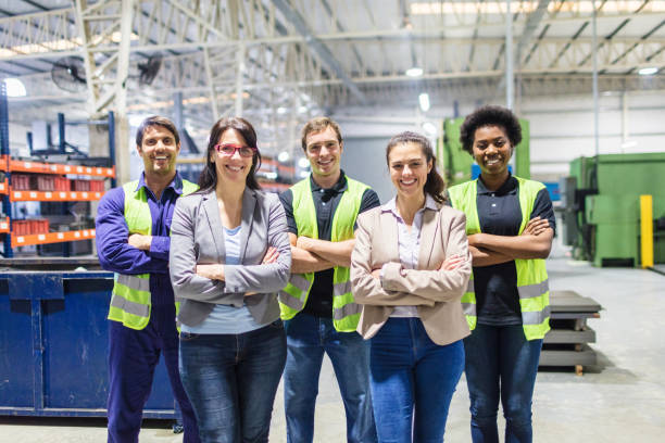 Portrait of staff at distribution warehouse stock photo