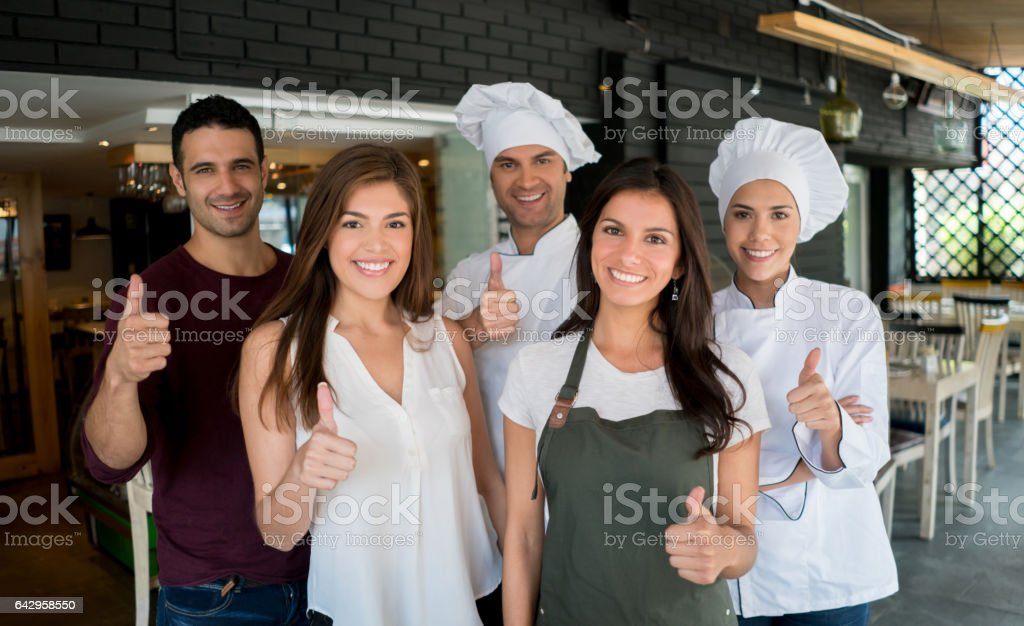 Portrait of staff working at a restaurant stock photo