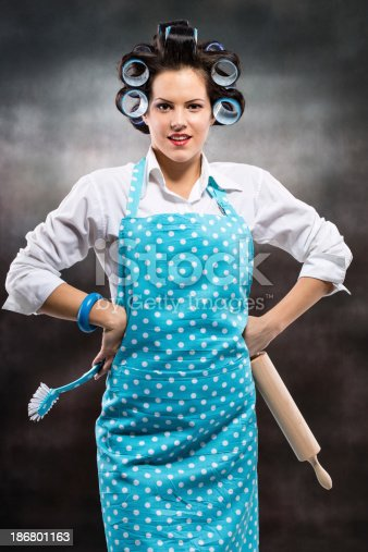 istock Portrait of stereotypical housewife 186801163
