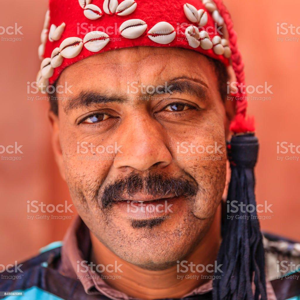 Portrait of street musician in Marrakesh, Morocco stock photo