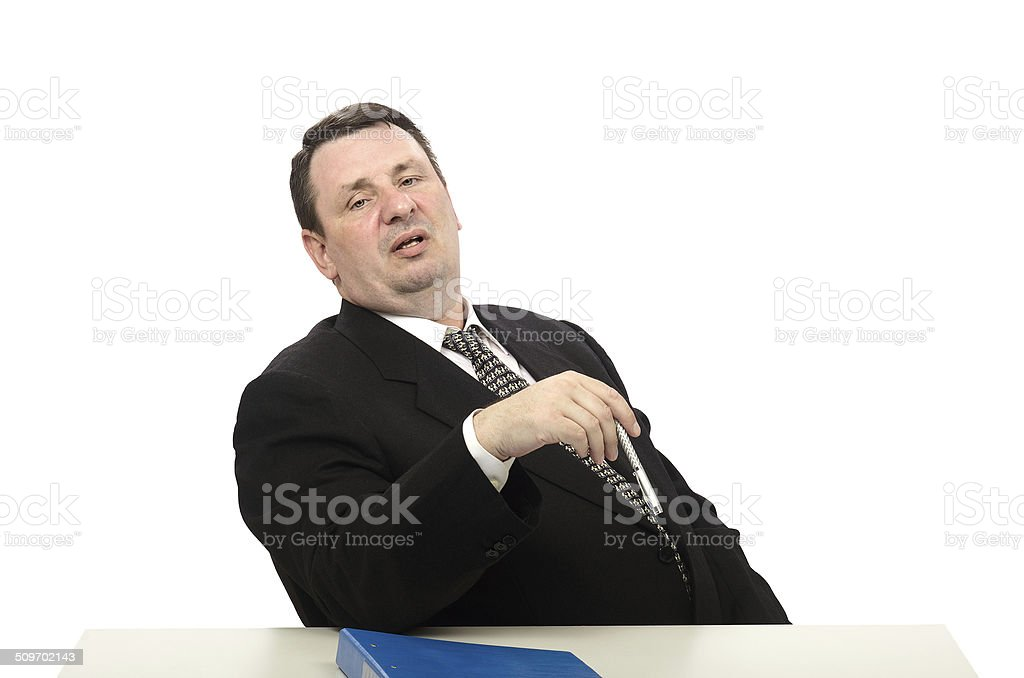 Portrait of stress interviewer stock photo