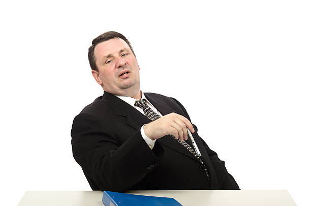 Portrait of stress interviewer Portrait of middle-aged stress interviewer on white background adversarial stock pictures, royalty-free photos & images